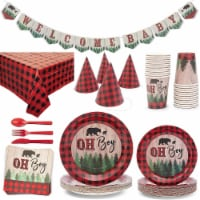 Red Plaid Boy Baby Shower Party Supplies, Dinnerware and Tablecloth (Serves 24, 194 Pieces)