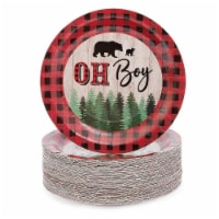Oh Boy Lumberjack Buffalo Plaid Baby Shower Party Paper Plates 9 inch (80 Pack)