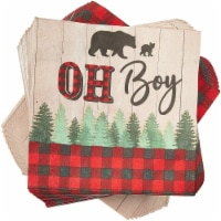 Plaid Oh Boy Paper Napkins for Baby Shower Party (6.5 x 6.5 In, 100 Pack) - Pack