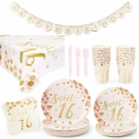 Rose Gold Sweet 16 Birthday Party Supplies (Serves 24, 170 Total Pieces)