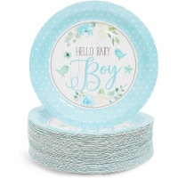 Blue Party Paper Plate for Baby Shower, Hello Baby Boy (9 In, 80 Pack) - PACK