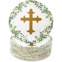 Sparkle & Bash Church Paper Plates for Baptism & Christening Party (9 in, 80 Pack) - PACK