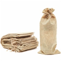 24 Pack Burlap Wine Bottle Gift Bags with Jute Drawstring, Beige, 13.8 x 3.1 in.