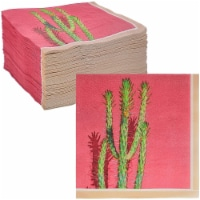 Pink Succulent Cactus Napkins for Fiesta Party Decorations (6.5 x 6.5 In, 150 Pack) - PACK
