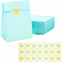 Blue Gift Bag, Party Favor Bags with Gold Stickers (5.15 x 8.6 In, 36 Pack) - PACK