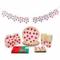 Berry Sweet Strawberry Party Decorations, Dinnerware & Treat Boxes for 1st Birthday - PACK