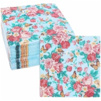 Blue Floral Paper Napkins with Rose Flowers for Birthday Party (6.5 x 6.5 In, 50 Pack) - PACK