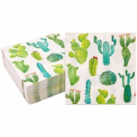 Succulent Cactus Paper Napkins for Fiesta Birthday Party (6.5 In, 100 Pack) - PACK