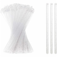 Silver Glitter Swizzle Sticks for Cocktails, Clear Drink Stirrers (7 In, 150 Pack) - PACK