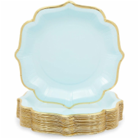Light Blue Paper Party Plates with Gold Foil Scalloped Edging (9 In, 48 Pack) - PACK