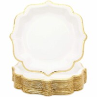 White Paper Party Plates with Gold Foil Scalloped Edging (9 In, 48 Pack) - PACK