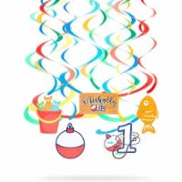 Fishing Paper Ceiling Decorations, O'fishally One Birthday Decor (36 Pieces) - PACK