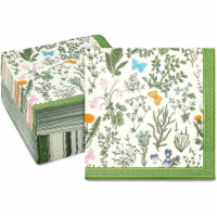 Floral Paper Napkins for Garden Party, Green Botanical Herb (6.5 In, 150 Pack) - PACK