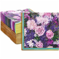 Purple Rose Paper Napkins for Birthday Parties, Bridal Shower (6.5 In, 150 Pack) - PACK