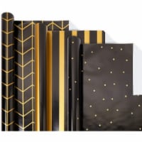 Reversible Gift Wrapping Paper, Black and Gold Foil (30 In x 16 Ft, 3 Rolls) - PACK