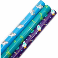 Wrapping Paper for Kids Birthday, Space, Dino, Sharks (30 Inches x 16 Feet, 3 Rolls) - PACK