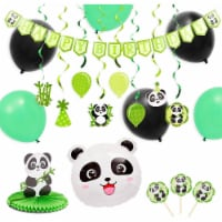 Panda Birthday Party Supplies with Balloons, Cake Toppers, Decorations (49 Pieces) - PACK