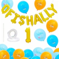 The Big One Balloons for 1st Birthday Party, Ofishally 1 Decorations (61 Pieces) - PACK