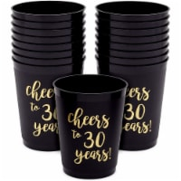 Black Plastic Tumbler Cups for 30th Party, Cheers to 30 Years (16 oz, 16 Pack) - PACK