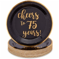 Black Paper Plates for 75th Party, Cheers to 75 Years (9 In, 48 Pack) - PACK