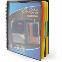 Black Spiral Notebook with Folder Pockets, 1/3 Cut Divider Tabs (10 x 11.75 In) - PACK