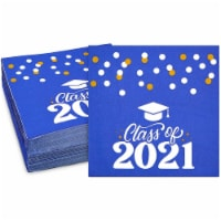 Class of 2021 Paper Napkins for Graduation Party (Blue, 6.5 In, 100 Pack) - PACK