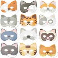 Blue Panda Cat Masks for Kids Kitten Party (Paper, 24 Pack)