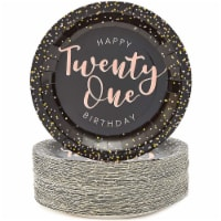 Black Confetti Paper Plates for 21st Birthday Party (9 In, 80 Pack) - PACK