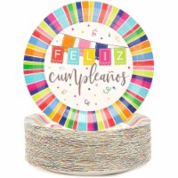 Feliz Cumpleanos Paper Plates for Birthday Party (9 In, 80 Pack) - PACK