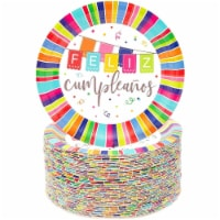 Feliz Cumpleanos Paper Plates for Birthday Party (7 In, 80 Pack) - PACK