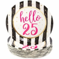 Hello 25 Paper Plates for 25th Birthday Party (9 In, 48 Pack) - PACK