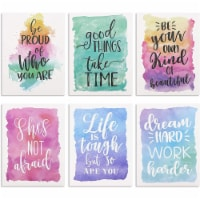 12 Pack Watercolor Pocket Folders with Inspirational Quotes, Letter Size - PACK