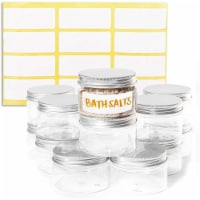 Clear Plastic Round Jars with Metal Lids and Labels (4 oz, 12 Pack)
