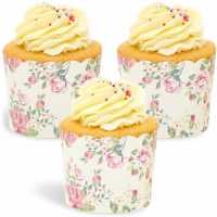 50x Floral Design Cupcake Wrappers for Wedding Party, Baking Muffins, Vintage
