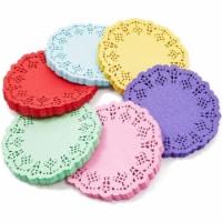 Mini Round Paper Lace Doilies, Rainbow Placemats (6 Colors, 600 Pack) - PACK