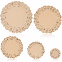 250pcs Brown Round Paper Doilies Lace for Art Craft Assorted for Party Décor - PACK