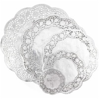Lace Paper Doilies, Metallic Silver Placemats (5 Sizes, 60 Pack) - PACK