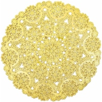 "60pcs Medallion Gold Round 10"" Paper Doilies Lace for Art Wedding Table Décor"