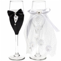 Glass Champagne Flutes, Bride and Groom (Set of 2)