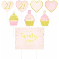 Happy 21st Birthday Yard Signs, Lawn Decorations in 3 Pink Designs (26 Pieces) - PACK