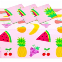 Tablecloth for Two-tti Frutti 2nd Birthday Party Decorations (Pink, 54 x 108 In, 3 Pack) - PACK