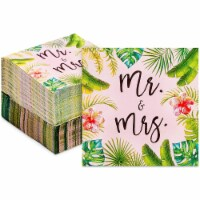 Mr and Mrs Cocktail Napkins for Tropical Beach Wedding Supplies (5 In, 100 Pack) - PACK