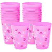 Paw Print Plastic Tumbler Cups, Cat Birthday Party Supplies (16 oz, 16 Pack) - PACK