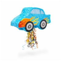 Small Pull String Pinata for Kids Race Car Birthday Party (16.5 x 11 x 6.3 In) - PACK
