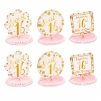 Sweet 16 Birthday Decorations, Pink and Gold Paper Honeycomb Centerpieces (6 Pack) - PACK