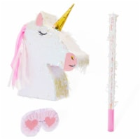 Large Unicorn Pinata Kit with Blindfold and Stick (14 x 20 x 5 In, 3 Pieces) - PACK