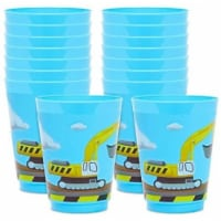 16 oz Plastic Tumbler Cups, Construction Birthday Party Supplies (Blue, 16 Pack) - PACK