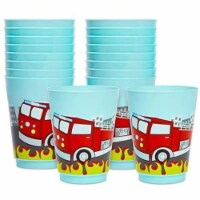 16 oz Plastic Tumbler Cups, Fire Truck Birthday Party Supplies (Blue, 16 Pack) - PACK