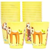16 oz Plastic Tumbler Cups for Sloth Birthday Party Supplies (Yellow, 16 Pack) - PACK