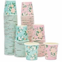 Paper Espresso Cups, Small Shot Cup for Bathroom, 2 Floral Designs (4 oz, 100 Pack) - PACK
